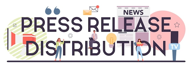 Press release distribution typographic header
