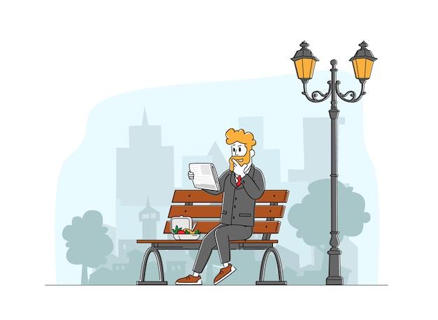 プレスソーシャルメディア情報コンセプト。ランチボックスと街の通りに座って新聞を読んで正装のビジネスマン。男性キャラクターはコーヒーブレイクに関する出版物を読んだ。線形