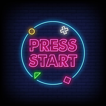 Press start neon signs style text