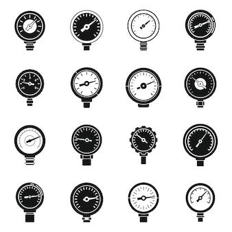 Pressure manometer icons set simple vector. meter gauge. machine manometer