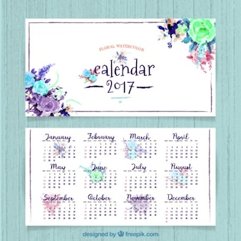 Pretty 2017 calendar of watercolor flowers
