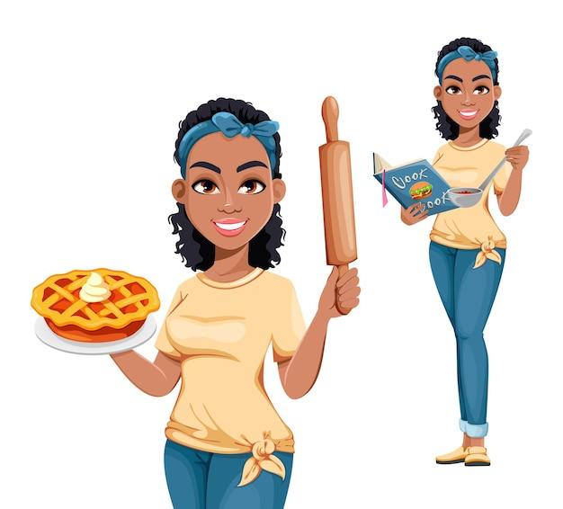 예쁜 아프리카계 미국인 주부, 두 가지 포즈가 있습니다. 가사 일을 하는 귀여운 만화 여자
