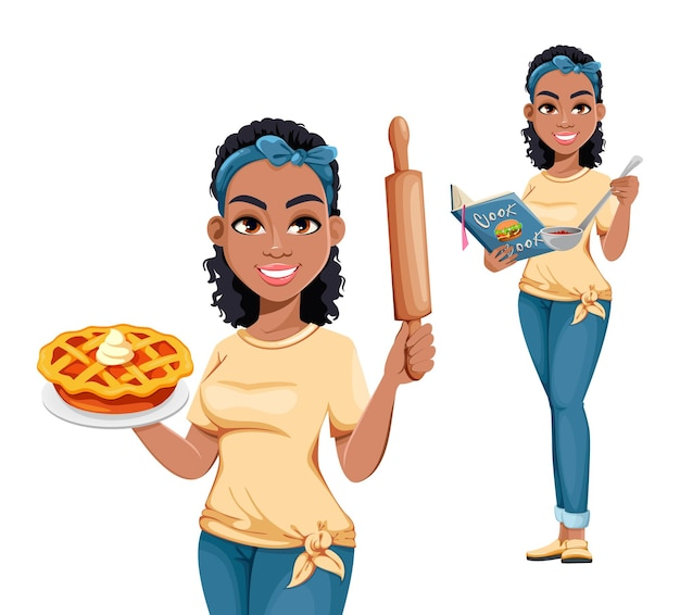 Pretty african american housewife, set of two poses. cute cartoon lady doing domestic work