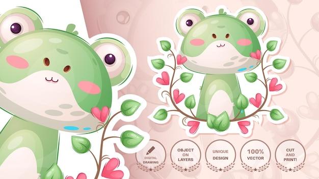 Pretty animal frog  cute sticker vector eps 10
