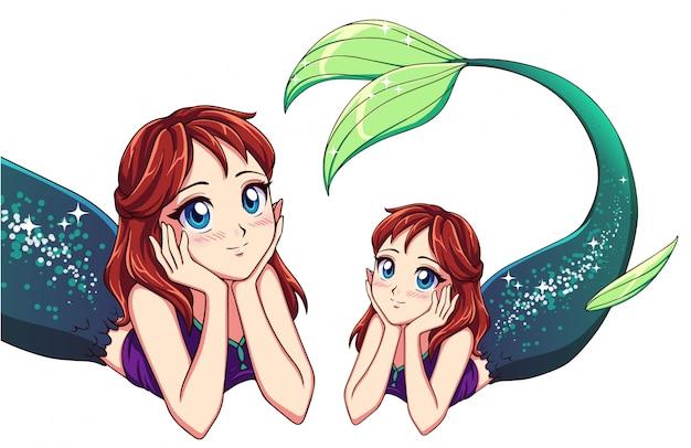 かわいいアニメ横になっている人魚。赤い髪と光沢のある緑の魚の尾。