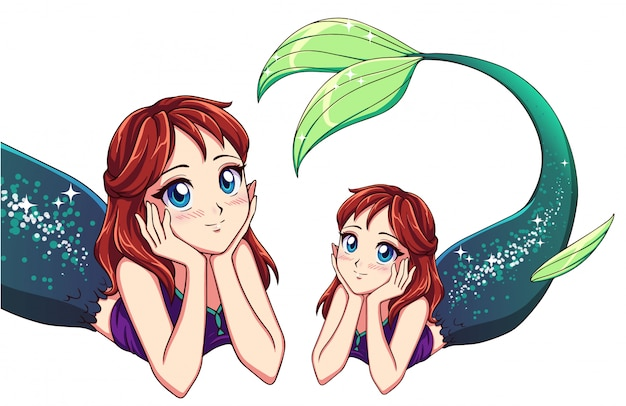 Pretty anime lying mermaid. red hair and shiny green fish tail.