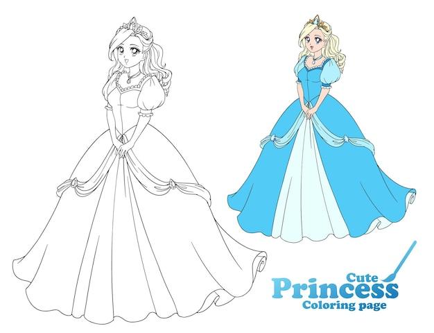 Симпатичная аниме-принцесса стоя и в красивом бальном платье. рисованной векторные иллюстрации для раскраски, игры, бумажной куклы, плаката, рубашки, дизайна карты.