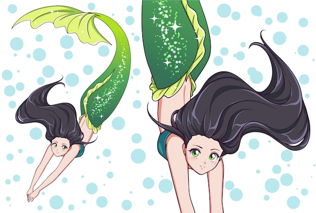 Pretty anime swimming mermaid. black hair and shiny green fish tail.