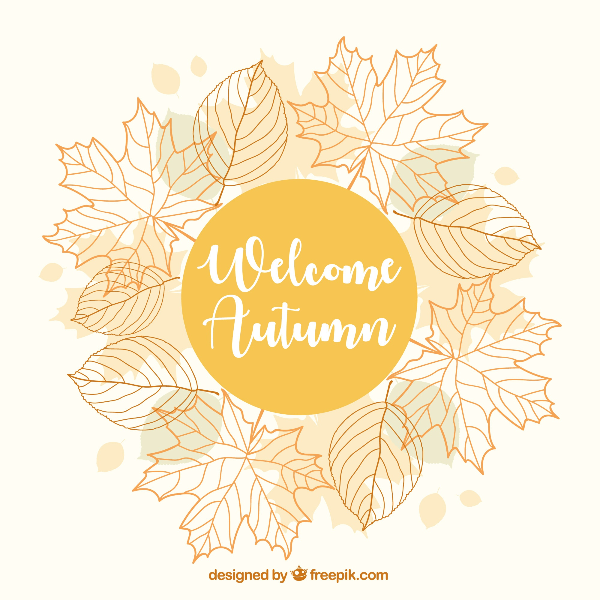 Pretty autumn background with a floral frame