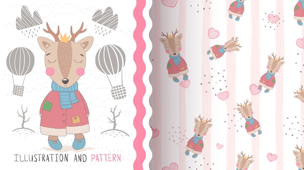 Pretty baby deer seamless pattern and illustration