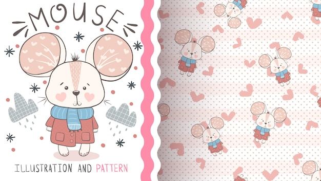 Pretty baby mouse seamless pattern and illustration