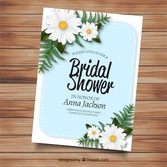 Pretty bachelorette invitation with realistic daisies