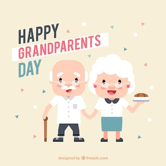 Pretty background of adorable grandparents in flat design