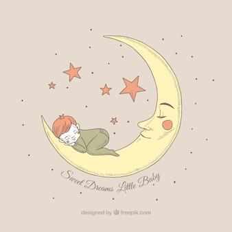 Pretty background of boy sleeping on the moon