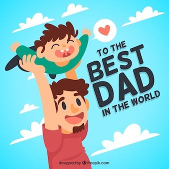 Pretty background of man playing with his son for father's day