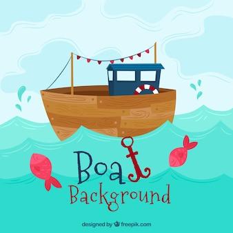 Довольно фоне деревянной лодки с якорем