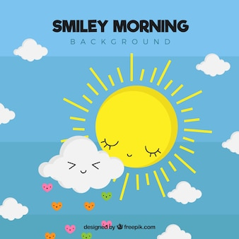 Pretty background with cloud and sun