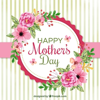 Pretty background with watercolor flowers for mother's day