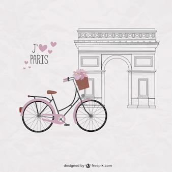 Довольно велосипед на парижской фоне