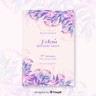 Pretty birthday invitation with flowers template