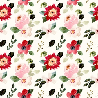 Pretty blossom floral watercolor seamless pattern