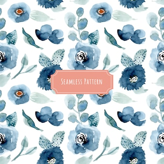 Pretty blue floral watercolor seamless pattern