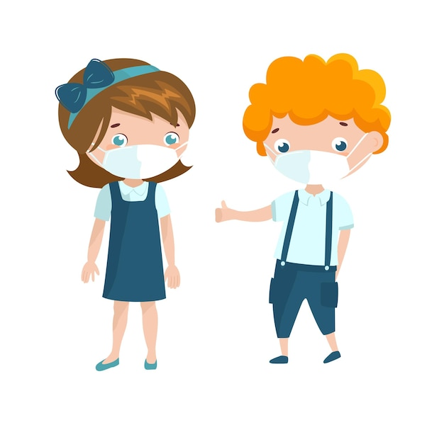 Pretty boy and girl in uniform wearing face mask. cartoon characters illustration