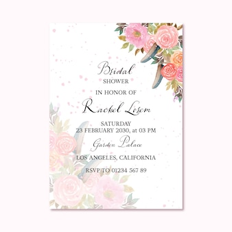 Pretty bridal shower invitation card with pink floral background and feather