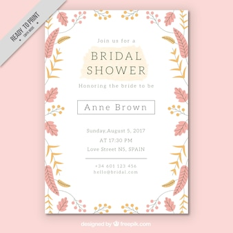 Pretty bridal shower invitation template with colored flowers