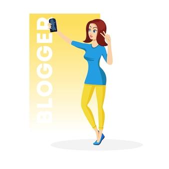 青いミニドレスと黄色のレギンスでスマートフォンを手に持って平和、勝利のジェスチャーを示すかなりブルネットの少女。自撮りをしている若い女性ブロガー。