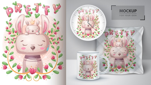 Pretty bunny and rabbit poster and merchandising