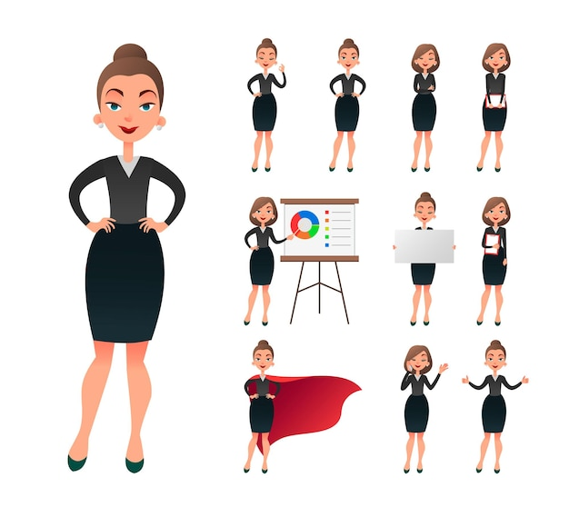 Pretty businesswoman working character set