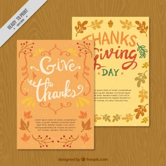 Pretty cards of thanksgiving with autumn leaves