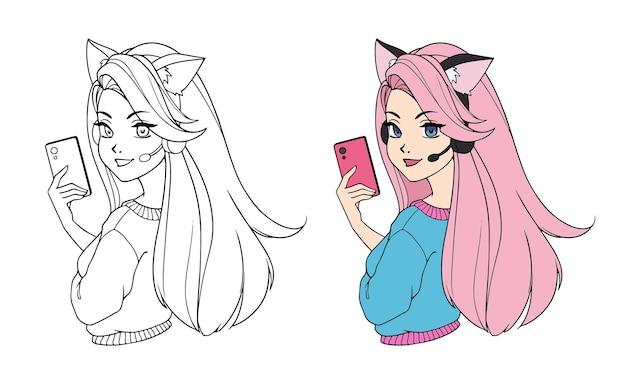 セルフィーを撮り、猫の耳のヘッドフォンとシャツを着ている長い髪のかわいい漫画ブロガーの女の子