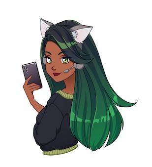 日焼けした肌の長い緑の髪のかわいい漫画ブロガーの女の子は、自分撮りを取り、猫の耳のヘッドフォンと黒いシャツを着ています。白で隔離の手描きベクトルイラスト。