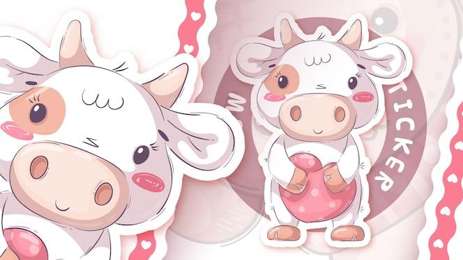 심장 스티커와 함께 예쁜 만화 캐릭터 동물 암소