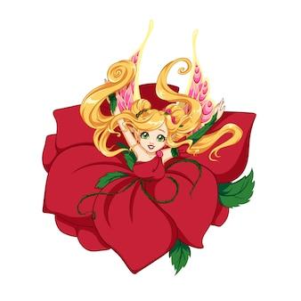Pretty cartoon fairy girl wearing rose petals. hand drawn  illustration.