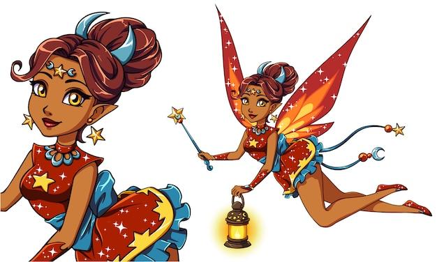 ランタンと魔法の杖を保持しているかなり漫画の妖精。茶色の髪、赤いドレス。月、星。子供のモバイルゲーム、書籍、tシャツのデザインテンプレートなどの手描きイラスト