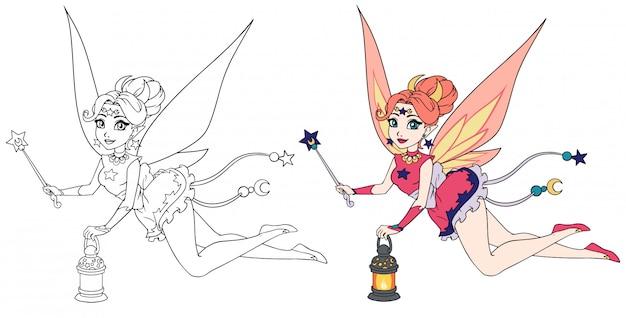 ランタンと魔法の杖を保持しているかなり漫画の妖精。子供の手のモバイルゲーム、塗り絵、tシャツのデザインテンプレートなどの輪郭の手描きイラスト