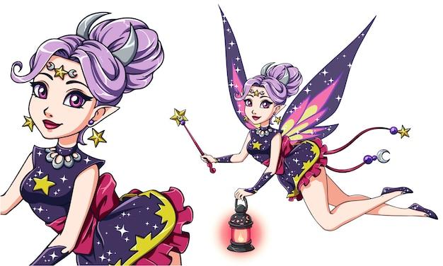 Милая фея шаржа держа фонарик и волшебную палочку. фиолетовые волосы, фиолетовое платье. луна, звезды. рисованная иллюстрация