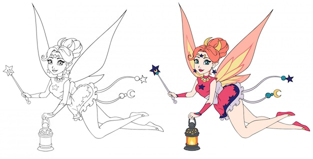 Pretty cartoon fairy holding lantern and magic wand. contour hand drawn illustration for kid mobile games, coloring books, t-shirt design template etc.