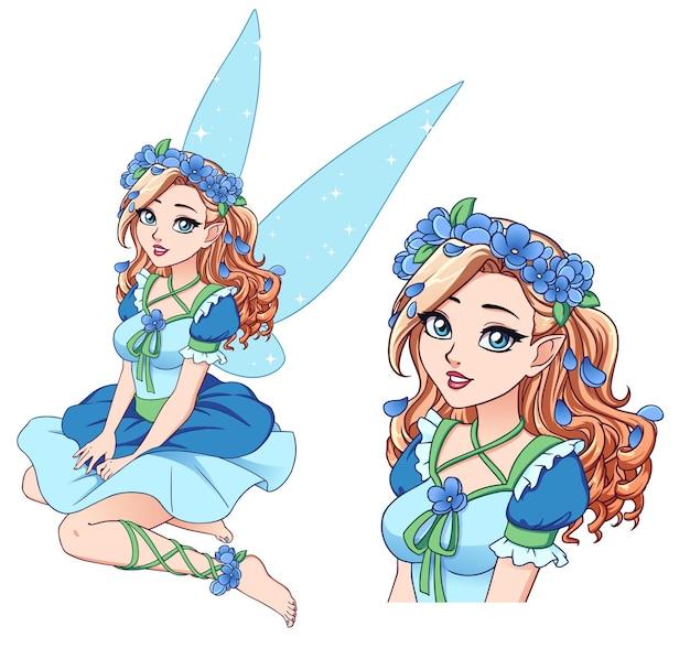 青い花の花輪とかわいい青いドレスを着ている巻き毛のブロンドの髪を持つかわいい漫画の妖精。白で隔離の手描きイラスト。