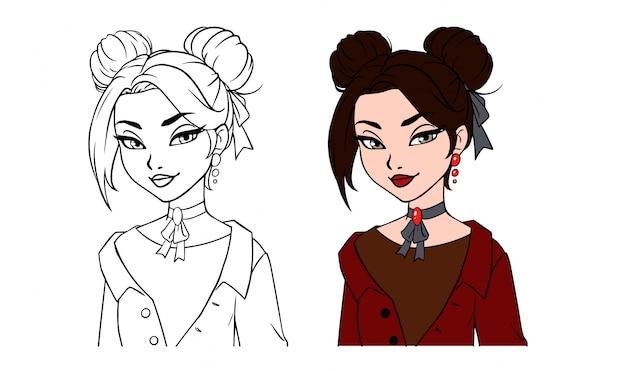 Pretty cartoon girl hand drawn portraits set.