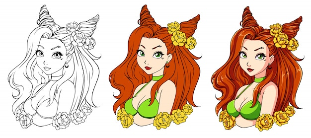 Pretty cartoon girl with wavy red hair, wearing green swimsuit and wreath.