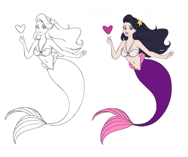 Pretty cartoon mermaid holding a heart in color and line art