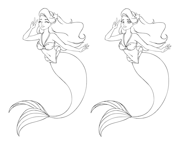 Pretty cartoon mermaid using v sign. open and closed eyes versions.