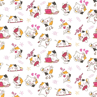 Pretty cat in different emotions and expressions seamless pattern background