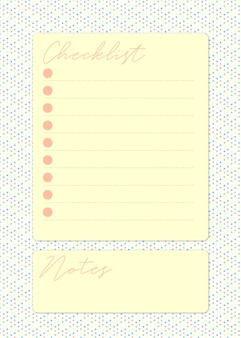Pretty checklist page in yellow with space for taking notes in a dotted colorful background