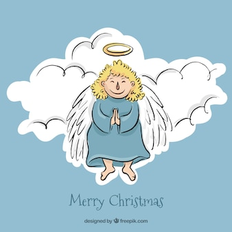 Pretty christmas angel in the sky