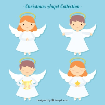 Pretty Christmas Angels In Flat Design